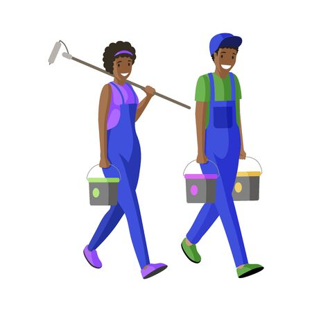 House painters team flat vector illustration. Repairman, workmen carrying buckets and paint roller cartoon characters. Apartment decorators facade renovation specialists in professional uniform