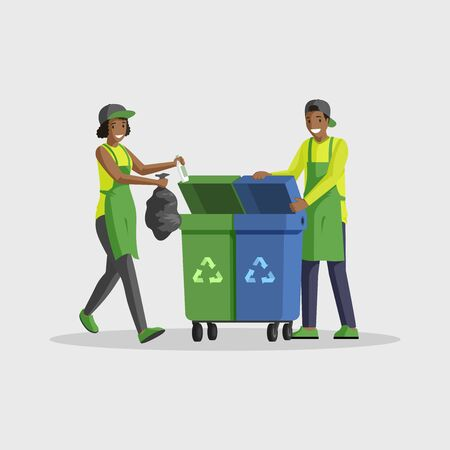 People taking out rubbish flat color illustration. Volunteers sorting waste, putting garbage bag in dustbins for recycling. African american man and woman cleaning isolated cartoon characters