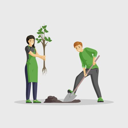 Couple planting tree flat vector illustration. People gardening isolated cartoon characters, volunteers working outdoors together, greening planet. Man digging and woman holding sapling