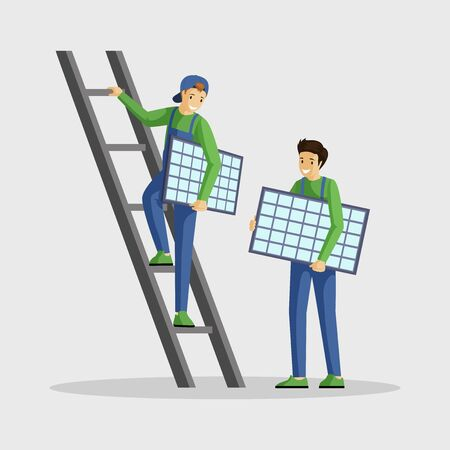 Workers installing solar panels flat illustration. Specialists setting photovoltaic module, engineer climbing ladder cartoon character. Using alternative energy, renewable power, sustainable lifestyle