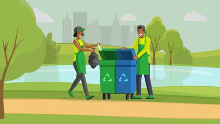 Volunteers cleaning park flat color illustration. Environment protection, nature pollution reducing, waste management. People taking out garbage in bins for recycling, activists cartoon characters Ilustração