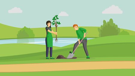 Volunteers couple planting tree flat illustration. People gardening in park near river, man digging and woman holding sapling cartoon characters. Activists working outdoors, greening planet together