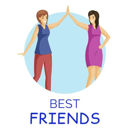 Best friends, smiling women flat vector illustration. Girls giving high five in circular frame. Positive emotions, good mood, female friends cartoon characters isolated on white background