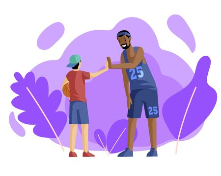 Happy basketball players giving high five flat vector illustration. Sport training, activity. Team spirit, coach in uniform and little basketball player with ball cartoon characters Иллюстрация