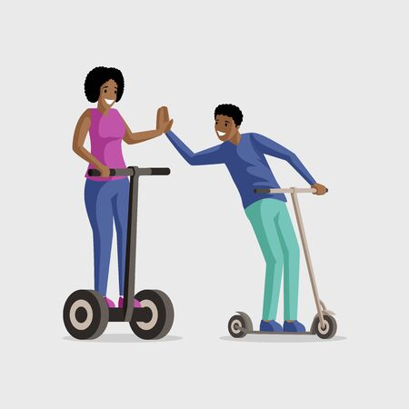 People riding scooters flat vector illustration. Entertainment, active leisure, rest together. Smiling man and woman on kick scooters cartoon characters isolated on white background
