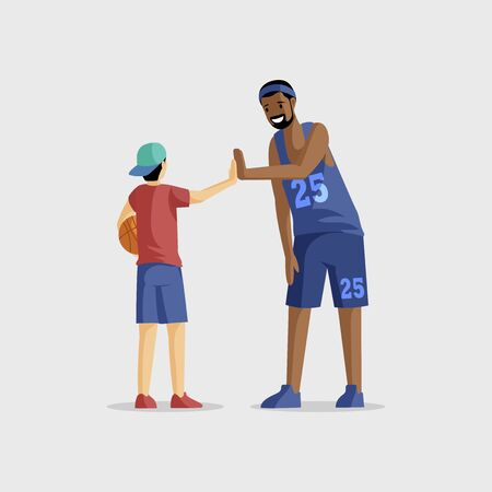 Basketball players flat vector illustration. Team game, sport competition, active rest and leisure. Basketball coach and young player with ball cartoon characters isolated on white background