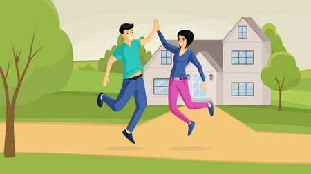 Smiling couple and country house flat vector illustration. Bargain, good buy, joyfulness, positive emotions. Happy family, jumping boyfriend and girlfriend outdoor cartoon characters