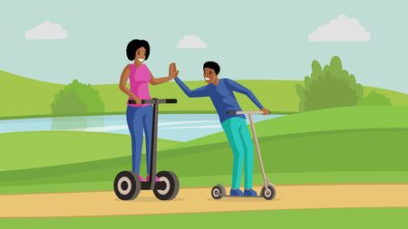 Young couple, friends riding scooters near river flat vector illustration. Friendship, entertainment, active leisure, rest together. Smiling man and woman on kick scooters cartoon characters