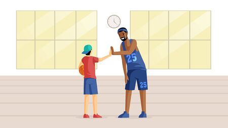 Basketball players in sport hall flat vector illustration. Team game, training, sport competition preparation, hobby, active leisure. Coach and little basketball player with ball cartoon characters