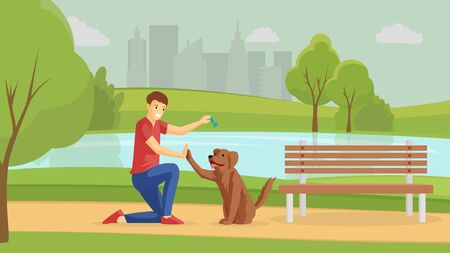 Boy playing with puppy outside flat vector illustration. Guy and four-legged friend walking outdoor together. Friendship, positive emotions, young man training pet in park cartoon character