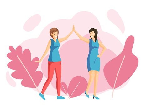 Smiling young girls giving high five, friends flat vector illustration. Women friendship, family walk, recreation, rest together. Female friends holding hands, happy sisters cartoon characters