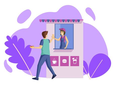 People and grocery kiosk flat vector illustration. Greeting and farewell gesture, thankfulness and service satisfaction. Street food customer and shop assistant giving high five cartoon characters