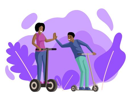 Boy and girl riding scooters flat vector illustration. Friends, couple in love, smiling young people on electric and kick scooters cartoon characters. Walk, recreation, active rest together