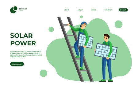 Solar power landing page vector template. Using alternative and renewable green energy website design. Solar panels installation, photovoltaic module mounting service web one page cartoon layout