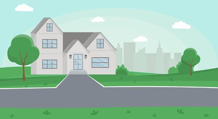 Countryside house flat vector illustration. Family house, two storey cottage, townhome with front yard, road and cityscape on background. Cartoon townhouse, suburban building modern exterior