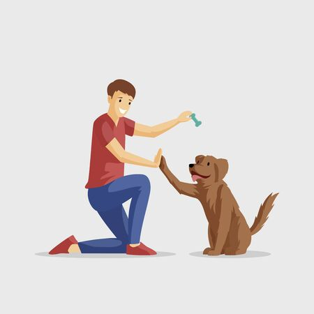 Smiling boy with pet flat vector illustration. Guy and four-legged friend playing together. Positive emotions, friendship, young man training pet cartoon character isolated on white background