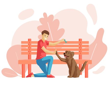 Boy and puppy sitting near park bench flat vector illustration. Young man and four-legged friend outdoor together, dog owner with pet cartoon character. Friendship, affection, warm feeling Illustration