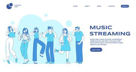 Musik-Streaming, Landing-Page-Vektorvorlage für die Präferenzen der Leute. Männliche und weibliche Musikhörer, junge Leute mit flachen Konturcharakteren der Kopfhörer. Design-Layout für Webbanner-Homepage für Musikveranstaltungen