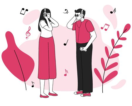 Music listeners meeting vector illustration. Good mood, pleasure, positive emotions. Smiling young couple, male and female teens with headphones flat contour characters isolated on white background