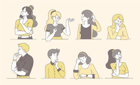 Persone pensierose e premurose illustrazioni vettoriali dei cartoni animati. Giovani ragazzi e ragazze che pensano, donne pensierose e perplesse, uomini con facce incerte. Caratteri di contorno isolati femminili e maschili che cercano una soluzione