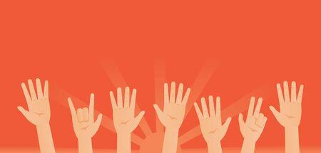 Waving hands on rising sun background. Raised arms Çizim