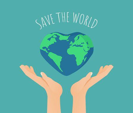 Las manos con la Tierra en forma de corazón y el texto salvan el mundo. Feliz día de la tierra o concepto de cartel del día mundial del medio ambiente. Ilustración plana de vector de salvar al mundo de la contaminación, proteger la ecología. Ilustración de vector