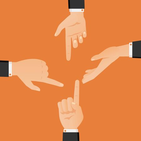 Set of hands pointing at each other vector illustration. Flat hand gestures in black suits showing and directing, argument and discussion arms isolated on orange background.