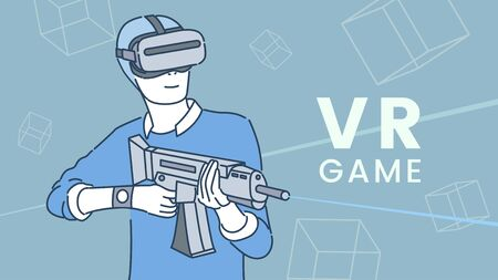 Gamer in headset with weapon playing VR shooter game
