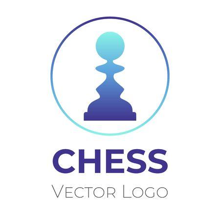 Chess game logo vector design template. Chess tournament, club, championship minimalistic symbol.