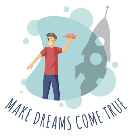 Make dreams come true vector flat illustration with typography.