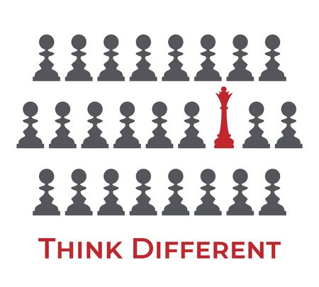 Silhouettes of pawns in grey and one red queen vector illustration. Think different, be not like the other, chess standing out from the crowd, uniqueness, individuality, creativity design element.