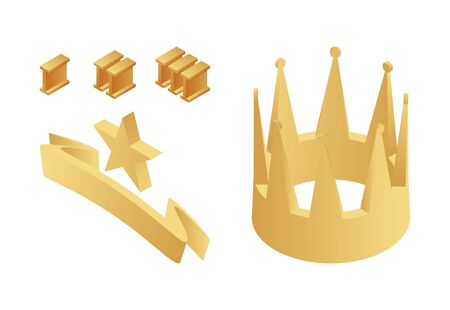Golden trophy, crown, first, second and third place numbers, star and ribbon isometric vector illustration.