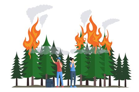 Frightened campers during a fire in forest flat vector illustration. Natural disaster, burning forest. Stock Vector - 140070349