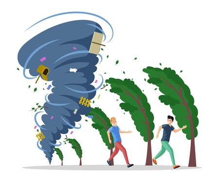 Frightened men running from hurricane vector flat illustration. Natural disaster, twisting tornado or storm. 矢量图像