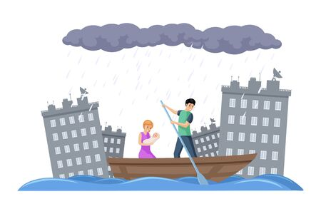 Family escapes on a boat from the flood in a city vector flat illustration. Evacuation during the storm.