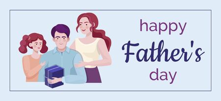 Happy Father day banner vector template. Family time together, family congratulates dad.