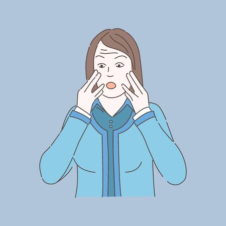 Woman in panic vector illustration. Girl nervous and worried. Mental disorder, phobia, psychology problem.