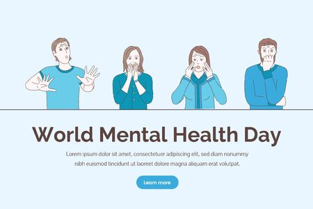 World mental health day vector concept. Psychology counseling, emotional troubles, mental therapy illustration.