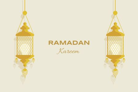 Ramadan Kareem flat greeting card template. Muslim holiday, Arabic and Islamic flyer design for Eid Mubarak.