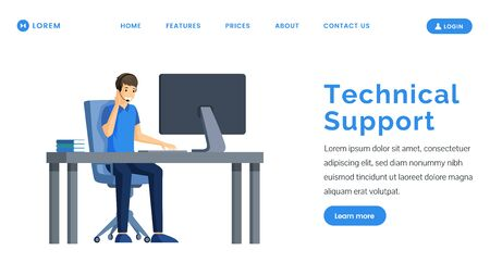 Technical support landing page vector template. Call center and service web banner design.