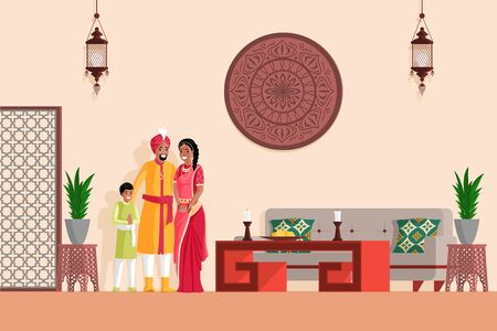 Indian family in Arabian or Indian style designed living room vector flat illustration.