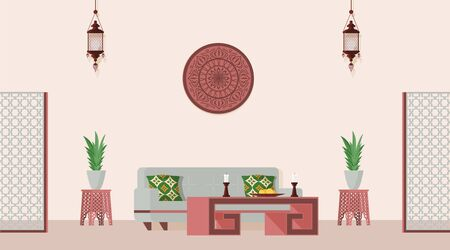 Oriental style decorated living room. Vector flat illustration of Arabian or Indian style designed room. Ilustracja