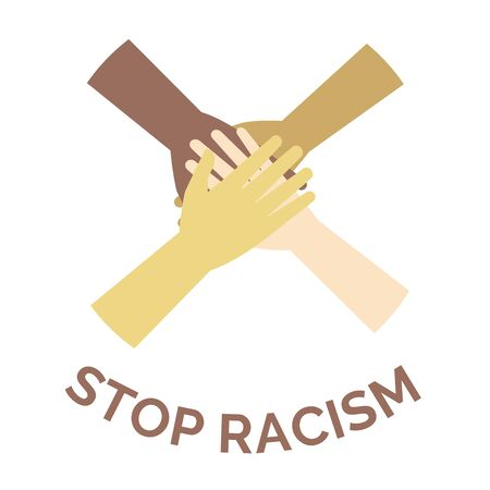 Stop racism vector banner concept. Against racism and discrimination, all human beings are equal. 矢量图片