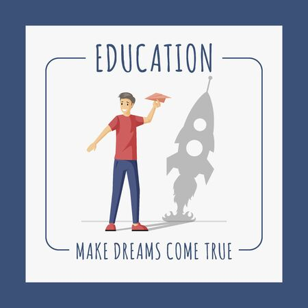 Education banner design template. Boy with paper plane and shadow of rocket poster design. Make dreams come true and personal growth vector flat concept with text space.