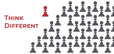 Silhouettes of grey pawns and one red queen apart vector illustration.