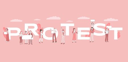 Protest word concept banner template. Young people holding empty placards vector cartoon illustration. Demonstration, activism, social movement or political meeting poster design concept.  イラスト・ベクター素材