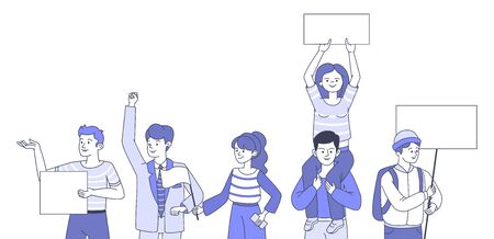 Group of young people with empty placards during a political meeting. People taking part in social movement vector cartoon outline illustration. Demonstration, protest, activism, voting concept.