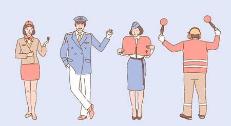 Airport and airline workers in uniform vector cartoon illustration. Aircrew, flight attendants or stewardess showing safety instructions, pilot and airport employee signaling outline characters.