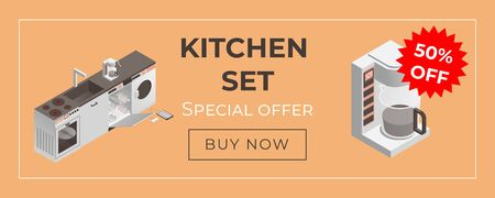 Kitchen equipment and household appliances web banner template. Washing machine, dishwasher machine, coffee machine and electric cooker isometric illustration. Discount poster design.