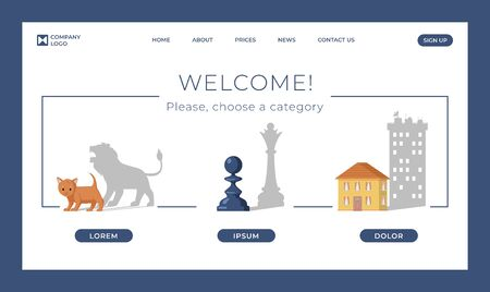 Psychological counseling landing page vector template. Pawn dropping shadow of queen, cat become lion and small house become skyscraper. Hidden potential, personal growth flat webpage concept.